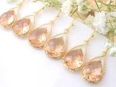 Set of 6 Coral Bridesmaid Jewelry Off- Personalized Bridesmaid Gift- Gold Peach Earrings- Peach Wedding- Blush Wedding- Bridal Jewelry Will You Be My Bridesmaid Gifts, Bridesmaid Gifts Unique, Bridesmaid Jewelry Sets, Bridesmaid Earrings, Wedding Earrings, Bridesmaids, Rose Gold Wedding Jewelry, Bridal Jewelry, Wedding Blush