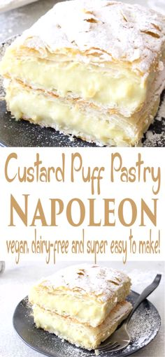 Vegan Custard Puff Pastry Napoleon Easy vegan custard puff pastry Napoleon made with rich coconut and cashew milk, vanilla extract and thickened up with tapioca. Dairy-free and naturally sweetened with maple syrup. Vegan Treats, Vegan Foods, Vegan Recipes, Vegan Lunches, Vegan Snacks, Drink Recipes, Easy Recipes, Köstliche Desserts, Delicious Desserts