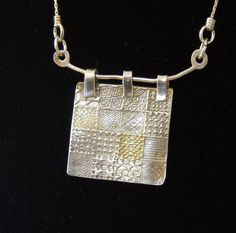 Quilt Necklace in Fine Silver 22 Karat Gold by WillowandMe on Etsy