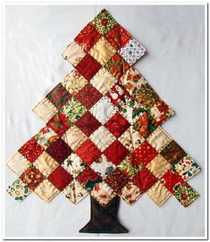 I was absolutely amazed to find Miriam had swapped, not a postcard but this beautiful quilted tree. Please read the love Christmas Patchwork, Fabric Christmas Trees, Christmas Tree Pattern, Christmas Tree Decorations, Christmas Stockings, Christmas Crafts, Christmas Ideas, Quilted Christmas Ornaments, Christmas Quilting