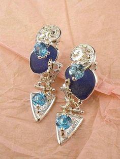 Boucles 2854, fait main, argent, or, topaze bleue, verre de mer