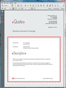 Insurance Coverage Services Sample Proposal - Create your own custom proposal using the full version of this completed sample as a guide with any Proposal Pack. Hundreds of visual designs to pick from or brand with your own logo and colors. Available only from ProposalKit.com (come over, see this sample and Like our Facebook page to get a 20% discount)