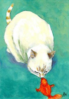 "cat art print cat painting ""The Kiss Between A Cat And Fish "" hanging wall art decor room"