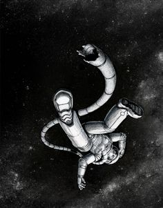 Breathless  by Lee Moyer  11x7 Scratchboard  www.leemoyer.com  For Month of Fear: Breathless  Nguyen had been so careful. But those who'd preceded him into this orbit hadn't been. It had only taken seconds, and one small bit of shrapnel, to leave him breathless.