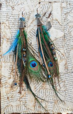 Copper Peacock Feather Freshwater Pearl Earrings