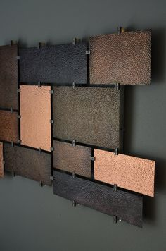 Hammered copper wall panel that is 28 tall and 60 and one inch thick. The copper panels are 18 gauge thick hammered with a liver of sulfur finish and Copper Wall Art, Metal Art, Sculpture Painting, Living Room Tv, Hammered Copper, Wall Colors, Fine Dining, Color Schemes, Home Improvement