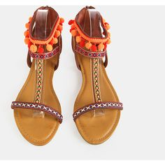 SheIn(sheinside) Embroidered Pom Pom Sandals CHESTNUT ($29) ❤ liked on Polyvore featuring shoes, sandals, peep toe sandals, vintage mary janes, vintage leather sandals, mary jane sandals and leather sandals