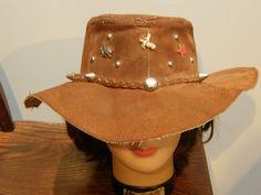 Vintage 70's Mod Suede Leather Hippie Hat 4 Hat Pins Size M | eBay