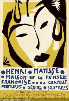 Lithographic poster by the then 80-yr-old Matisse for his Maison de la Pensee Exhibition in 1950, four years before his death.