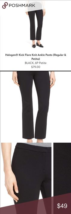 NWOT Halogen black pants 6 petite from Nordstrom Classic black pant by halogen from Nordstrom. Removed tags but never worn- I have the same pair already 🤦♀️ oops! From a smoke free home. These are sold out online currently Halogen Pants