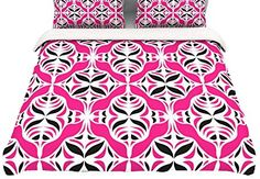 KESS InHouse Marianna Tankelevich Beach Time Pink Purple Queen Comforter 88 X 88