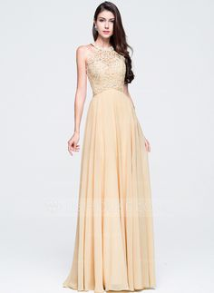 A-Line/Princess Scoop Neck Floor-Length Chiffon Prom Dress With Beading (018070353)