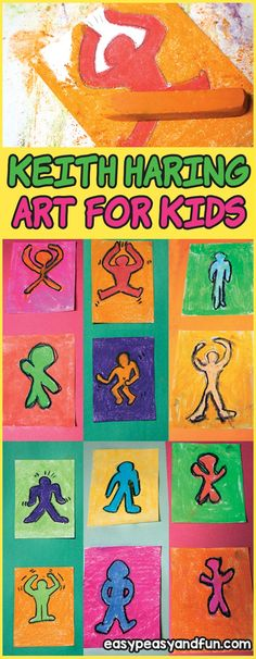 Keith Haring Art for Kids - Pop Art Lesson Idea - Easy Peasy and Fun Pop Art For Kids, Art Lessons For Kids, Art Lessons Elementary, Projects For Kids, Art Projects, Kids Pop, Abstract Art For Kids, Project Ideas, Keith Haring Art