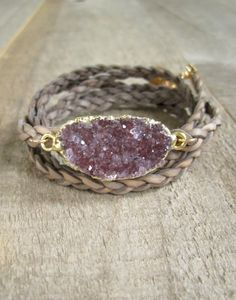Stunning jasper quartz druzy takes center stage on a braided leather bracelet, designed to wrap around the wrist multiple times.  Glittering druzy
