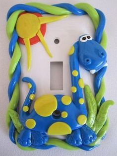 Dinosaur Light Switch Cover, standard switch, blue: