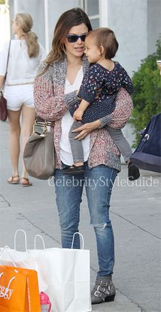 #RachelBilson wore the Etoile #IsabelMarant Maxime Oversized Cardigan as she holds onto her adorable baby goddaughter as the two head out for a walk on Sunday (March 24) in Hollywood.  #CelebrityStyleGuide