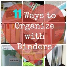 11 Ways to Organize with Binders.Definitely going to try the cleaning binder Organizing Paperwork, Household Organization, Binder Organization, Organizing Your Home, Classroom Organization, Organizing Ideas, Organising Hacks, Organizing Solutions, Storage Hacks