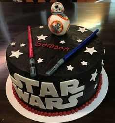 Star Wars cake - Star Wars Cake - Ideas of Star Wars Cake - Star Wars cake Birthday Cake Cookies, Star Wars Birthday Cake, 3rd Birthday Cakes, Star Wars Cookies, Star Wars Cake Toppers, Star Wars Party, Aniversario Star Wars, Star Wars Gifts, Novelty Cakes