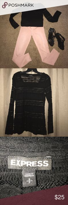 New Black Lace Blouse NWOT Black lace top. Never worn. I bought brand new from Express took the tags off and tried it on and decided not to wear it. Excellent new condition. Express Tops Blouses