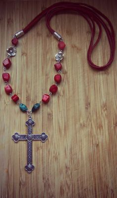 Large Cross Pendant Necklace Red Lucite Beads by sweetfreedomshop,