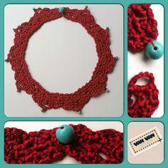 Van Van Handmade: Collar - gargantilla de ganchillo en color coral con turquesas