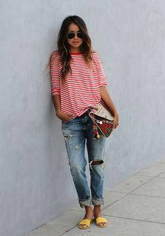 ★comfort★ slouchy striped tee, boyfriend jeans, & bright sandals // @dressmeSue pins real outfits