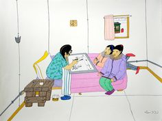 "Though Pitseolak prefered to work in solitude, she seemed to welcome quiet visits from her grandchildren, such as Annie Pootoogook. Annie Pootoogook, ""Pitseolak Drawing with Two Girls on the Bed,"" private collection. Annie Pootoogook, Inuit Art, Canada, Two Girls, Make Art, Learn To Draw, Online Art, Art Boards, New Art"