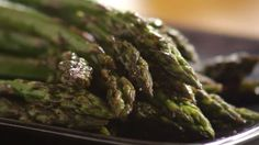 Fresh asparagus is baked until tender, and dressed with a blend of butter, soy sauce, and balsamic vinegar.