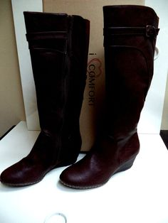 9dd2917b29e5 I LOVE COMFORT -Women s Size 7.5 Med- Brown Pebbled Vegan KNEE HIGH BOOTS-  NIB…