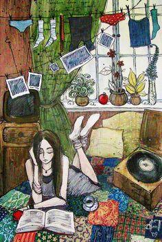 Cada uno lee un su ritmo, en su espacio - Ilustración de Anna Tkacheva