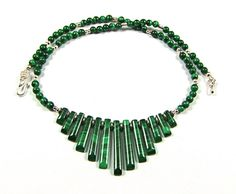 Malachite & Sterling Silver Necklace  N30 by TheSilverBear, $150.00