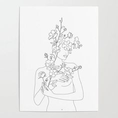 Minimal Line Art Woman with Wild Roses Mini Art Print by Nadja - Without Stand - x Line Art Flowers, Flower Art, Rose Cuttings, Kunst Poster, Rose Art, Custom Posters, Aesthetic Art, Art Sketchbook, Line Drawing