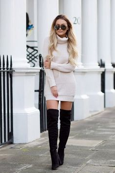 Perfect And Modest Winter Outfits Ideas With Knee High Boots; Modest Winter Outfits, Winter Boots Outfits, Casual Skirt Outfits, Trendy Outfits, Fall Outfits, Fashion Outfits, Black Outfits, Party Outfits, Fashion Styles