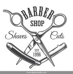 Old school style barbershop print with crossed razor and scissors. Click to the link to find more barbershop elements, badges, emblems and designs. #vectorillustration #vector#illustration #design #dgimstudio #barber #barbershop #hairdresser #scissors #ra Barber Shop Interior, Barber Shop Decor, Barber Logo, Barber Tattoo, Hair Salon Logos, Salon Names, Barber Quotes, Vintage Hairdresser, Shaving Cut