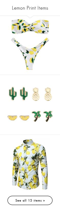 """Lemon Print Items"" by zaful ❤ liked on Polyvore featuring jewelry, earrings, lemon jewelry, pineapple earrings, golden earring, golden jewellery, golden jewelry, tops, white shirt and white long sleeve shirt"