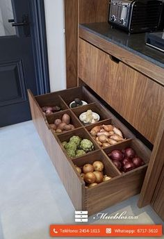 Food storage design drawers 18 New Ideas Home Decor Kitchen, Kitchen Interior, New Kitchen, Kitchen Ideas, Awesome Kitchen, Awesome House, Kitchen Rustic, Kitchen Inspiration, Kitchen Cupboard Designs