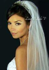 "68"" White Pencil Edge Floor Length Chapel/Cathedral Bridal Wedding Veil"