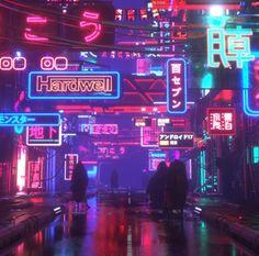cyberpunk night / sci-fi city / neon city lights in Hong Kong, or Japan, cyberpunk city street, urban slum district, blade runner inspired neon noir environment landscape concept art artwork inspirati. Cyberpunk City, Ville Cyberpunk, Cyberpunk Kunst, Cyberpunk Aesthetic, Neon Aesthetic, Futuristic City, Futuristic Architecture, Aesthetic Anime, Aesthetic Japan