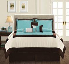 Modern Micro Suede 7Piece Comforter Set QUEEN Aqua BlueBrownBeige >>> ** AMAZON BEST BUY **