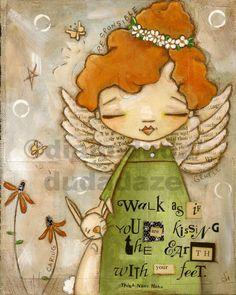 Orignal Folk Art Painting on Canvas  Earth Angel   ©dianeduda/dudadaze