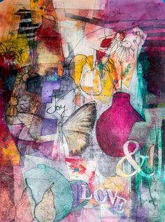 Sharon Blair: Joy and Love   www.sharonblair.com.au     - Art For Inspired Interiors           -  Mixed Media Artwork: Abstract Elements Include Pear,  Butterfly and Vase