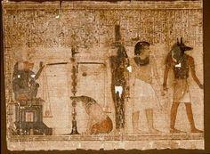 Dodenboek van Kenna: Kenna was een rijke koopman uit Thebe in Opper-Egypte. In zijn graf is een bijna 18 meter lange papyrus gevonden met de tekst en afbeeldingen van het Egyptische Dodenboek. Het is niet alleen het langste, maar ook het mooiste handschrift in het museum. Het afgebeelde vel toont de belangrijke episode van het dodengericht: iedere Egyptenaar verscheen na zijn dood voor een rechtbank in het hiernmaals. Daar werd zijn hart gewogen om te bekijken of het niet zwaar van zonden…