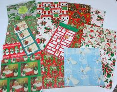 VTG CHRISTMAS WRAPPING PAPER GIFT WRAP Christmas All Occasion Stickers Gift Tags
