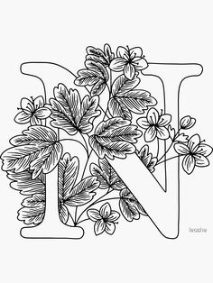 Coloring Letters, Alphabet Coloring Pages, Colouring Pages, Coloring Books, Floral Embroidery Patterns, Embroidery Designs, Bullet Journal Banner, Embroidery Alphabet, Alphabet Design