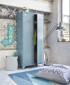 A wave of freshness will flood your bedroom with the LOFT grey blue wardrobe. With its industrial style and on-trend look, this metal wardrobe Ikea Wardrobe, 2 Door Wardrobe, Wardrobe Storage, Locker Storage, Ikea Ps, Armoire Ikea, Metal Lockers, Door Plaques, Condo Living