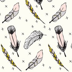 happy feathers - elvelyckan fabric by elvelyckan on Spoonflower - custom fabric