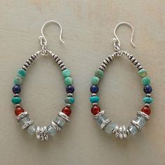"GITANE HOOPS -- Dramatic hoops accent turquoise, carnelian, lapis and aquamarine with sterling silver beads and disks. Sterling silver earwires. Exclusive. 2-1/4""L."