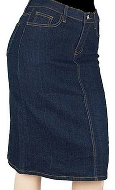 Mid-Length Stretch Denim Skirt
