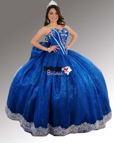 2017 New Embroidery Sequined Sweet 15 Ball Gown Royal Blue Satin Organza Prom Dress Gown Vestidos De 15 Anos