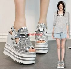 e0d449fcc2d Womens Punk Peep Toe Rhinestone Platform Gothic Creeper Sandals Sports Shoes  Sports Shoes